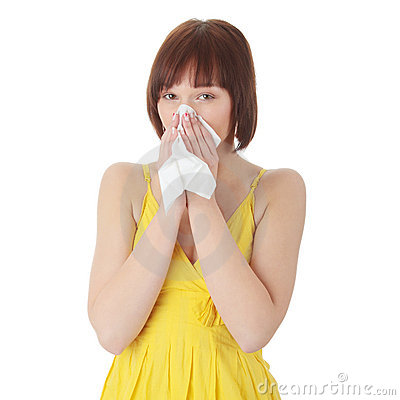 Teen woman with allergy