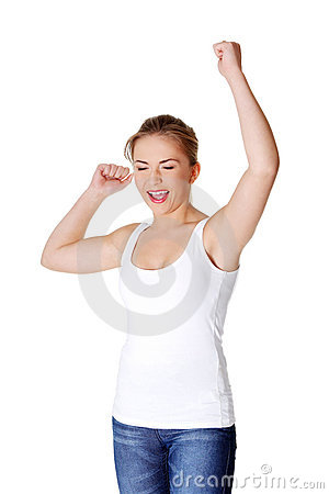 Teen woman with fists up