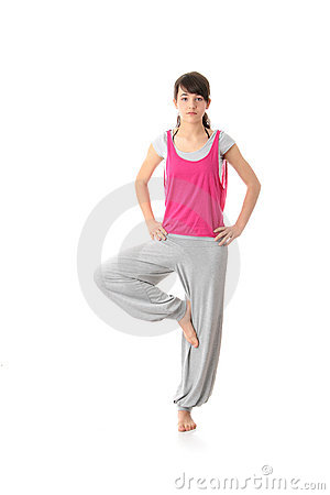 Teen woman training yoga
