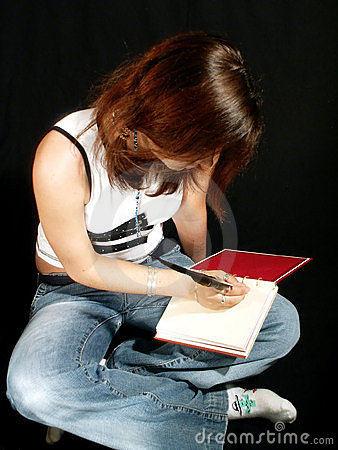 Teen writing diary