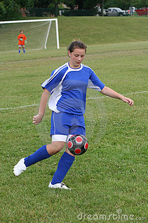 Teen Youth Soccer Action on Field