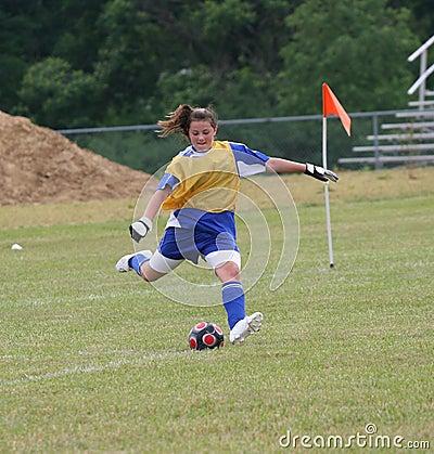 Teen Youth Soccer Goalie Action