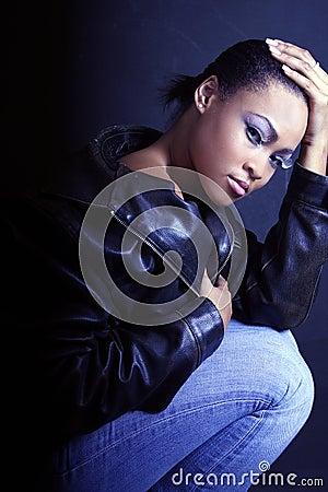 Teenage African American Girl, Kneeling and Looking Sexy