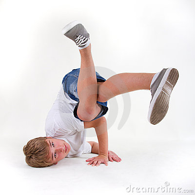 Teenage b-boy in freeze
