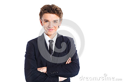 Teenage boy in a business suit