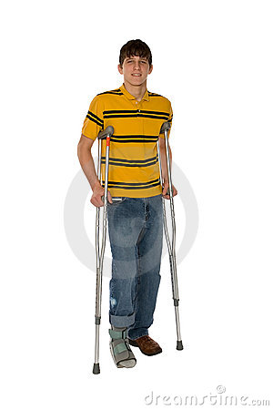 Teenage Boy On Crutches