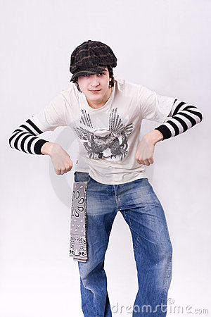 Teenage boy dancing Locking or Hip-hop dance