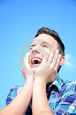 Teenage boy excited