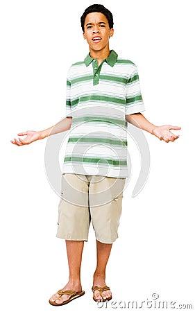 Teenage Boy Gesturing