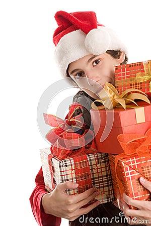 Teenage boy with gifts