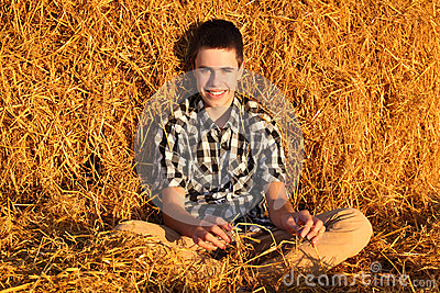 Teenage Boy in the Hay
