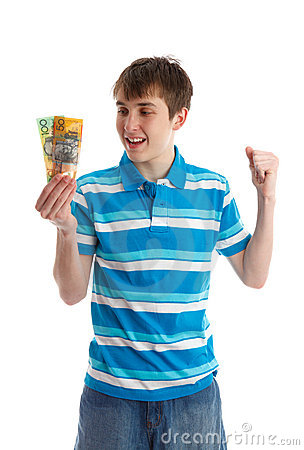 Teenage boy holding money