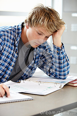 Free Teenage Boy In Class Stock Photography - 54954842