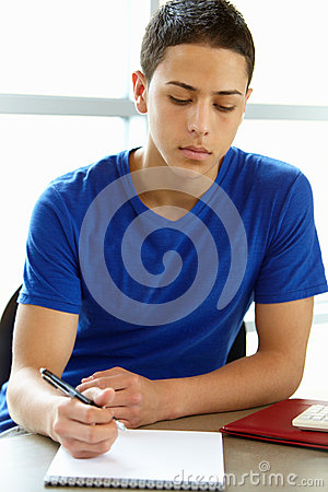 Free Teenage Boy In Class Royalty Free Stock Image - 55893036