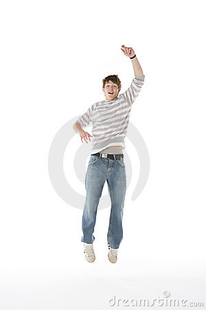 Teenage Boy Jumping In The Air