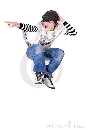 Teenage boy jumping and dancing Locking dance