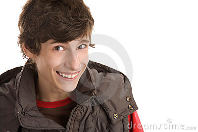 Teenage boy laughing