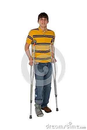 Free Teenage Boy On Crutches Stock Photos - 1916623