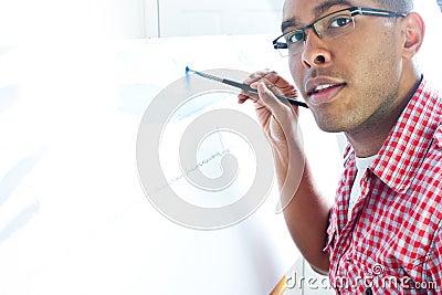 Teenage boy painting
