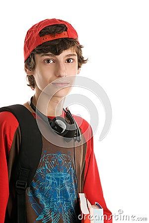 Teenage boy preparing to school
