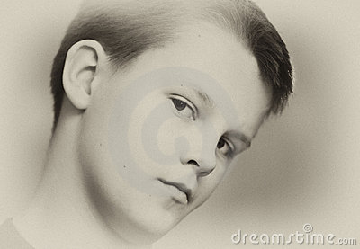 Teenage boy in sepia portrait