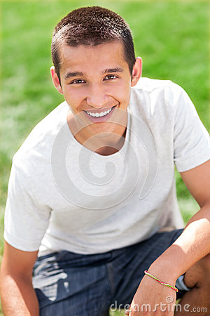 Teenage boy smiling