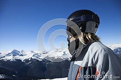 Teenage boy snowboarder