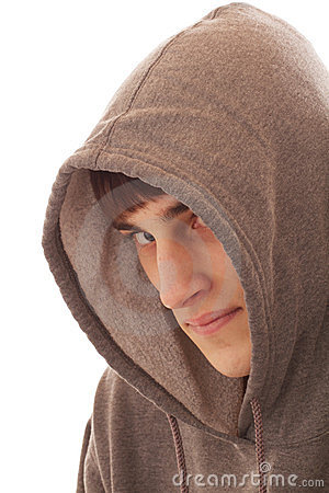 Teenage boy wearing hooded shirt