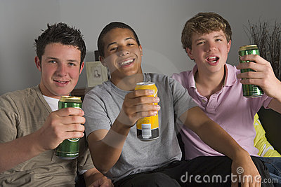 Teenage Boys Drinking Beer