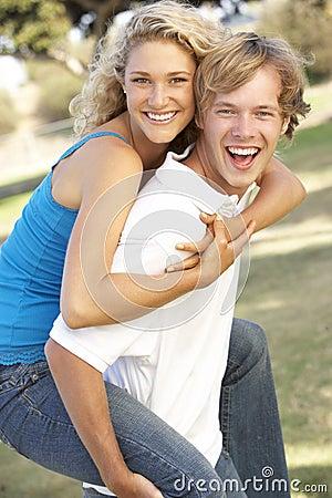Teenage Couple Having Fun