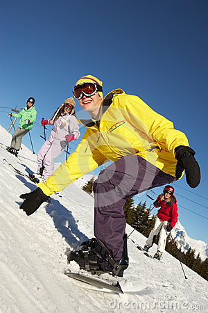 Free Teenage Family On Ski Holiday In Mountains Royalty Free Stock Photography - 25838057