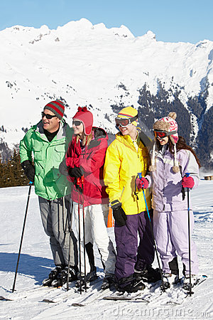 Teenage Family On Ski Holiday