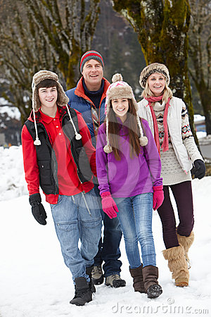 Teenage Family Walking In Ski Resort