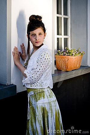 Teenage fashion girl on location