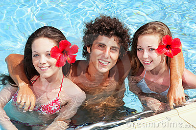 Teenage friends in a swimming pool
