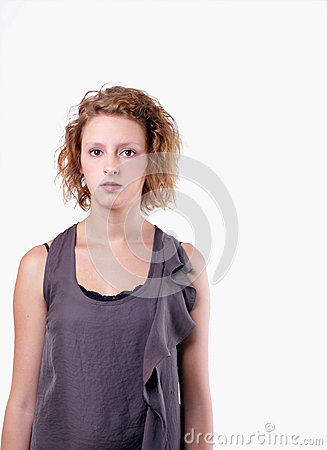 Teenage girl on 255 white background