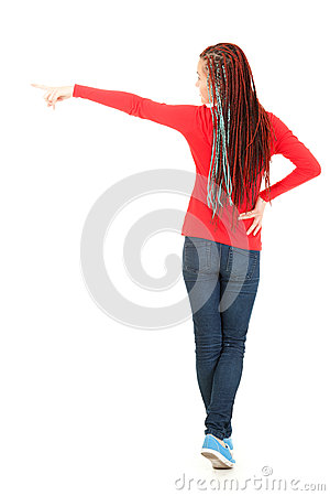 Teenage girl in african hairstyle pointing