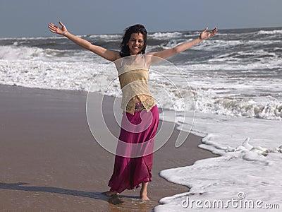 Teenage girl in the beach