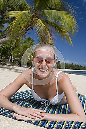 Teenage girl on a beach in Fiji