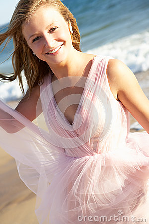 Teenage Girl On Beach Holiday
