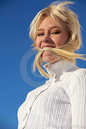 Teenage Girl Biting Hair