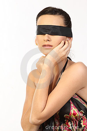 Teenage girl with black band
