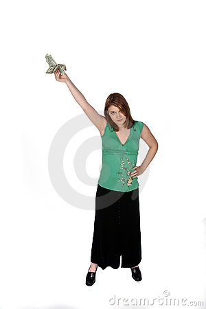 Teenage girl in black skirt holding money