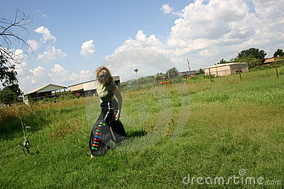 Teenage girl in countryside