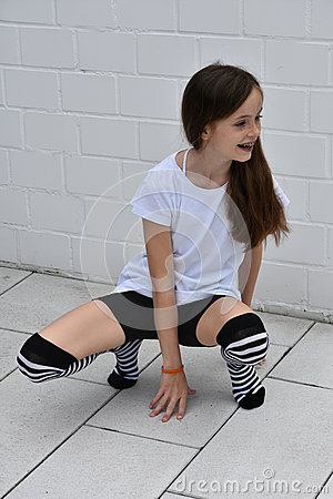 Teeny in striped socks having some vibrator fun 10