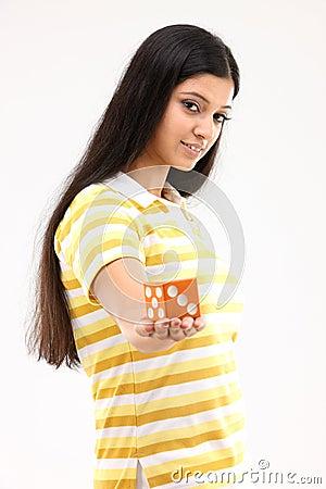 Teenage girl with dice