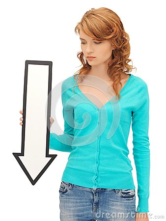 Teenage girl with direction arrow sign
