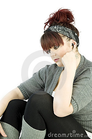 Teenage girl with earphones