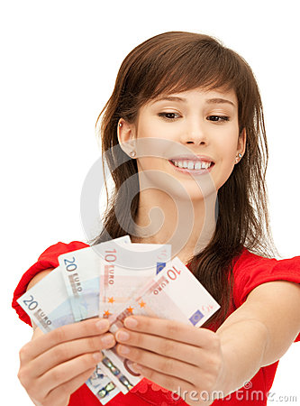 Teenage girl with euro cash money Stock Photo
