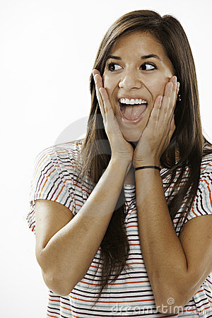 Teenage Girl Excited on White Background
